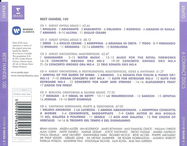 کاور پشتی 100 موسیقی برتر هندل Best Georg Friedrich Handel