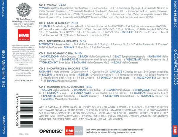کاور پشتی 100 موسیقی برتر منوهین Best Yehudi Menuhin