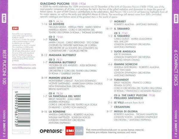 کاور پشتی 100 موسیقی برتر پوچینی Best Giacomo Puccini