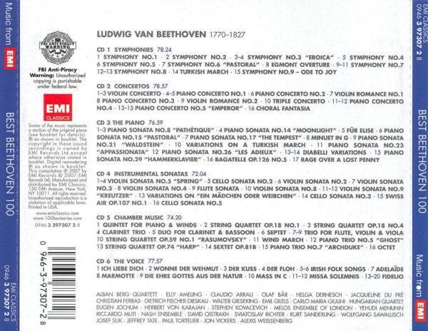 کاور پشتی 100 موسیقی برتر بتهوون Best Ludwig van Beethoven