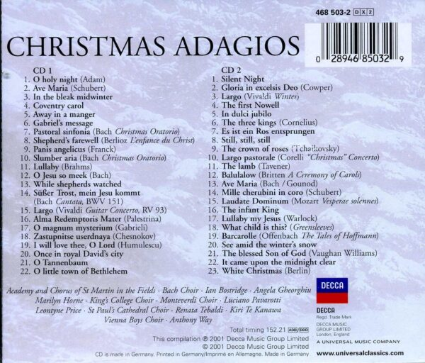 کاور پشتی بهترین آهنگ های آداجیو برای کریسمس Christmas Adagios