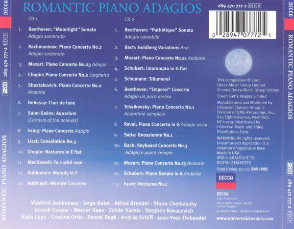 کاور پشتی بهترین آهنگ های رمانتیک پیانو آداجیو (آرام) Romantic Piano Adagios