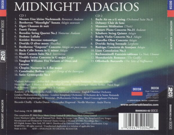 کاور پشتی بهترین آهنگ های آداجیو برای نیمه شب Midnight Adagios