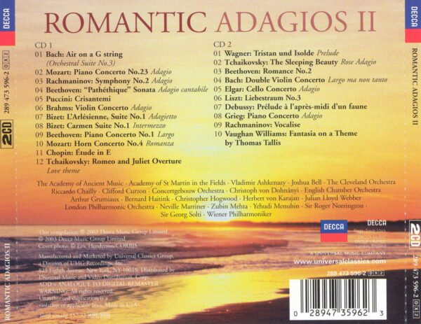 کاور پشتی بهترین آهنگ های رمانتیک آداجیو Romantic Adagios II