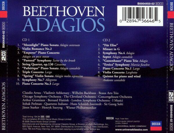 کاور پشتی بهترین آهنگ های آداجیو بتهوون Beethoven Adagios