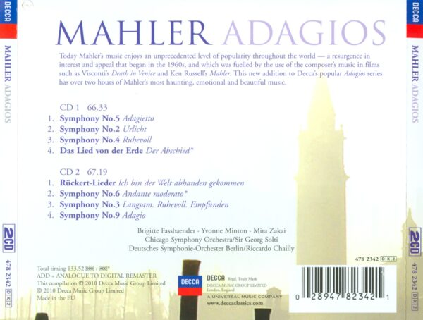 کاور پشتی بهترین آهنگ های آداجیو ماهلر Mahler Adagios