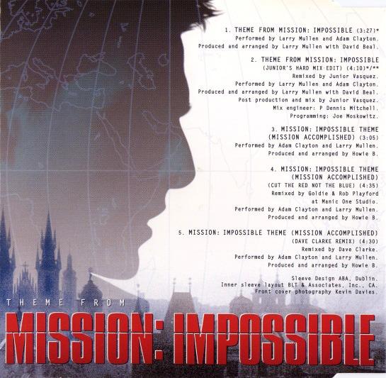 کاور پشتی آهنگ اصلی و معروف ماموریت غیر ممکن Theme from Mission Impossible