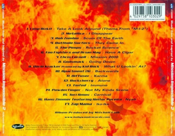 کاور پشتی دوم موسیقی متن فیلم ماموریت غیر ممکن 2 Mission Impossible