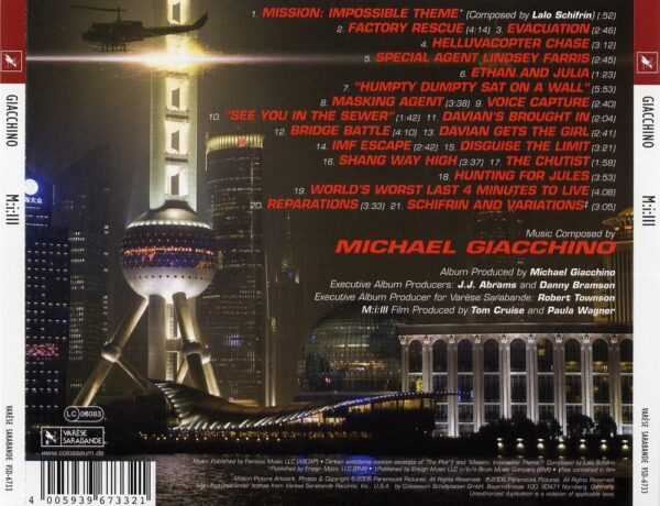 کاور پشتی موسیقی متن فیلم ماموریت غیر ممکن 3 Mission Impossible